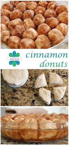 Cinnamon Donut Holes Need a last minute, fun breakfast treat? Try this super easy recipe for cinnamon donut holes. Baked, not fried.Need a last minute, fun breakfast treat? Try this super easy recipe for cinnamon donut holes. Baked, not fried. Köstliche Desserts, Delicious Desserts, Dessert Recipes, Yummy Food, Jello Recipes, Kid Recipes, Whole30 Recipes, Vegetarian Recipes, Healthy Recipes