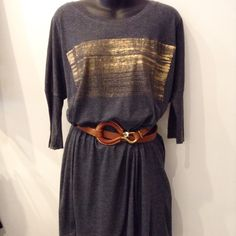 Raquel Allegra tunic. Soft grey cotton with gold screen print. One size. Please call (949) 715-0004 for all inquiries.