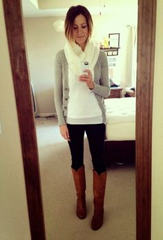 infinity scarf + gray cardigan + white T + black skinnies/leggings + cognac boots