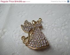 Giving Thanks Arms of the Angel Monet Rhinestone Brooch