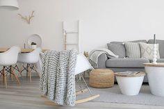 Clean interior design. White and gray.