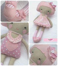 cloth doll - amelie dolly by nattygai Doll Toys, Baby Dolls, Dolls And Daydreams, Diy Bebe, Dress Up Dolls, Lace Headbands, Sewing Dolls, Soft Dolls, Softies