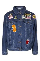 TALL MOTO Badged Denim Jacket