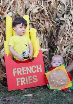 Sibling, brother halloween costumes! Burger + French fries. Home made in less than an hour. Old diaper box for the French fry + yellow pool noodles. Little dude's is all felt hot glued together.