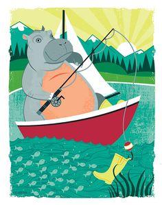 Hippo Gone Fishin'-  illustration print of children's animal series (2)
