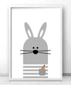 Bunny Nursery Wall Art, Gray Nursery Decor, Baby Animal Decor, Printable Wall Art For Kids Room Nursery Prints, Nursery Wall Art, Nursery Decor, Wall Art Prints, Nursery Room, Bunny Nursery, Animal Nursery, Art Wall Kids, Art For Kids