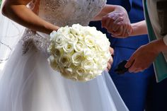 Classic white rose bouquet at Blake Hall