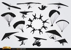 Set of parachutes and paragliders skydiving silhouettes. These are perfect vector silhouettes for using in promos, articles, ads, and more material related to this awesome extreme sport. High quality JPG included. Under Commons 4.0. Attribution License.