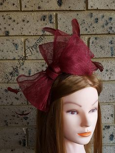Burgundy Sinamay Fascinator Sinamay Fascinator Racing Hat