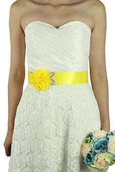 Lemandy big lace flowers and crystals wedding sashes wedding belts available in multi colors Yellow ** Continue to the product at the image link.