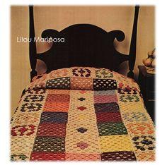 Crochet Pattern Vintage -70s Granny Square Colorful Bedspread-Throw Blanket Cover-Boho Bohemian Home Decor pdf file--Digital Vtg DIY