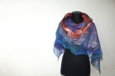 "https://flic.kr/p/fCkrn1 | Nuno Felted Scarf | 50/50 Extrafine Australian merino wool / Mulberry silk, Cotton gauze fabric. Length 80 3/4"" (205 cm)  Width 13 3/4"" (35 cm)"