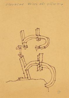 Peine del Viento's drawing by Eduardo Chillida. #eduardochillida #chillida #peinedelviento #combofthewind #comb #wind #sea #coast #rocks #sansebastian #donostia #basque #artist #artisan #craft #craftsmanship #sculpture #drawing #minimalist #metalart #metalsculpture #designprocess #manufacturingprocess #industrialdesign #art #design Abstract Words, Corten Steel, Design Process, Metal Art, Drawings, Rocks, Coast, Artisan, Minimalist