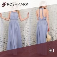 ✨NEW!✨ periwinkle maxi dress This is a gorgeous dress. I love the braided detailing on the back straps. Side slits are super nice and adds more of an elegant touch. Can be worn for a formal occasion or just casually! 100% rayon. The length from the top of the bust of the neckline to the bottom is 50.5 inches. April Spirit Dresses Maxi
