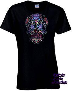 Rhinestone Sugar Skull Shirt/Diamond Sugar Skull Dia De Los Muertos Skull Women's Shirt/Day Of The Dead T-Shirt/Flower Eyes Sugar Skull by PrintsAtTheJunction on Etsy https://www.etsy.com/listing/524765645/rhinestone-sugar-skull-shirtdiamond