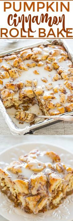 Pumpkin Cinnamon Roll Bake - Every bite tastes like the super SOFT, gooey CENTER of a cinnamon roll!! Spiked with pumpkin and flooded with icing, this EASY recipe is an automatic WINNER!!