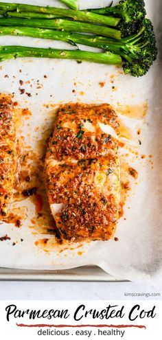This oven baked Parmesan Crusted Cod recipe is an easy fish meal to prepare for a quick, tasty weeknight dinner. This recipe is cod topped with parmesan cheese and baked to perfection. You'll have a super healthy meal ready to serve in less than 30 minutes, so grab the recipe and enjoy! #cod #easydinner #healthyrecipe #seafood #glutenfree
