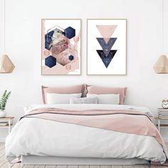 Set of 2 printable blush pink navy blue rose gold geometric Room Decor Bedroom Rose Gold, Blue And Pink Bedroom, Rose Gold Rooms, Bedroom Wall, Blush And Gold Bedroom, Bedroom Furniture, Furniture Ideas, Teenage Room Decor, Modern Room Decor