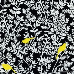 Fabric... Taxi Tree Bird Silhouette by Timeless Treasures