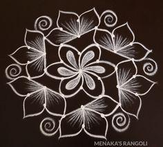 Easy 7 to 4 Dots Rangoli Designs Rangoli Borders, Rangoli Border Designs, Rangoli Designs With Dots, Rangoli With Dots, Kolam Designs, Free Hand Rangoli Design, Muggulu Design, Simple Rangoli, Simple Designs