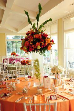 wedding center pieces #wedding reception decor- love the orange!
