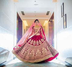 Latest Indian Bridal Dressing Trends consists of most recent & hottest bridal Makeup, Bridal Jewelry and Hairstyle fashion for brides. Pink Bridal Lehenga, Indian Wedding Lehenga, Indian Wedding Bride, Designer Bridal Lehenga, Red Lehenga, Wedding Wear, Wedding Dresses, Indian Bridal Outfits, Indian Bridal Fashion