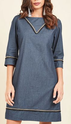 detailed denim shift dress