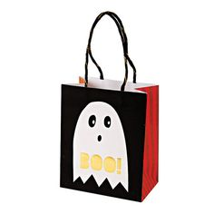 Halloween Party Bags - Set of 8 Meri Meri Something Wicked Treat Bags with a Ghost and Skeleton Image- Perfect for your Halloween Party!