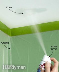 Spray on a little Upshot (by KILZ) to remove ceiling stains - apparently blended to match aged ceiling - has a verticle spray tip