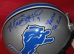"$285.44 Autographed Matthew Stafford Full Size Detroit Lions Riddell Replica Helmet. Matthew added a ""9"" for his jersey number and the rare inscription ""Restore the Roar""! JSA Authentication tamper proof serial numbered sticker with a matching COA and is guaranteed authentic. Any true Lions fan would love to have this item prominently displayed in their sports room! Don't miss your chance to get this rare inscribed helmet from one of the hottest young quarterbacks in the game!"