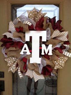 Texas A&M burlap wreath by GreatExpectations12 on Etsy