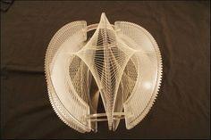 MID CENTURY MODERN SWAG LIGHT hanging Lucite String Art lamp vtg geometric shade
