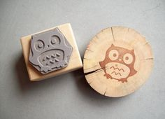 Owl Rubber Stamp  Forest Critter Woodland Animal by stampcouture