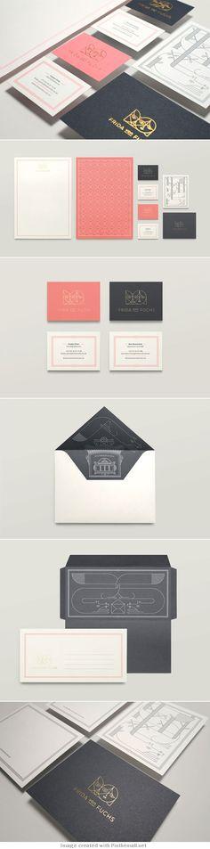Frida von Fuchs identity / by Jonathan Garrett (I love the charcoal grey envelop liner) Brand Identity Design, Graphic Design Branding, Corporate Design, Typography Design, Logo Design, Corporate Identity, Visual Identity, Stationary Branding, Stationery Design