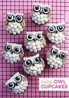 These cupcakes are owl-out adorable with their oreo eyes and plumes of buttercream. And these cinnamon sugar cupcakes don't hurt either. They're the perfect canvas to decorate with just b Harry Potter Cupcakes, Gateau Harry Potter, Diy Cupcake, Cupcake Recipes, Cupcake Cakes, Fruit Cakes, Owl Desserts, Winter Cupcakes, Owl Cakes