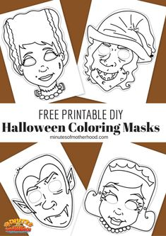 Free Printable DIY Coloring Halloween Masks Set Of Four | Miniature Masterminds