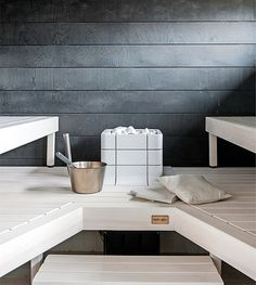 Black and white sauna