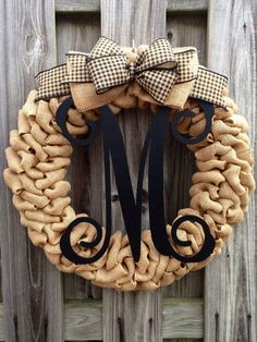 Sale: Rustic Southern Chic Single Letter Wood Monogram Burlap Wreath Shown with Taupe Plaid Bow- year round on Etsy, $55.00