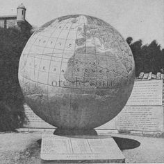 Stone globe, cut from a boulder of Purbeck stone 10 feet in diameter and weighing 40 tons. Swanage, England