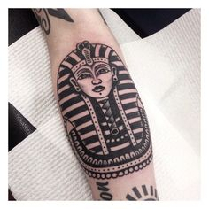 Tutankhamun tattoo by Harry Morgan. #traditionaltattoo