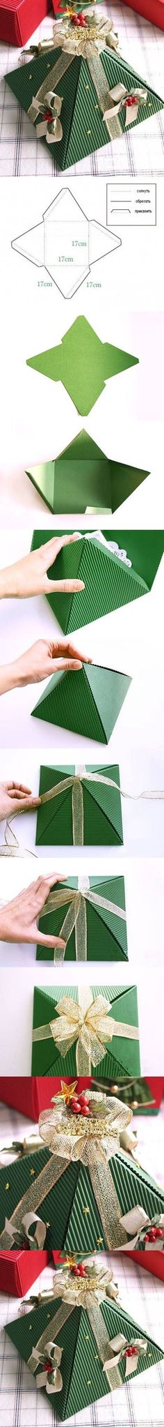 DIY Pyramid Christmas Gift Boxes diy craft crafts christmas how to tutorial craft gifts christmas gifts christmas crafts christmas craft gift ideas Christmas Gift Box, Christmas Gift Wrapping, Christmas Is Coming, Christmas Trees, Diy Paper, Paper Crafts, 242, Diy Box, Holiday Crafts