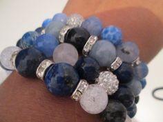OFERTA!!!Set 4 pulseras de piedras semi preciosas de Lenajoyas en Etsy