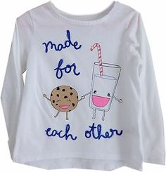 @salesfortoday Follow for daily updates and sales. Also CHECK OUT MY EBAY STORE  Toddler Girls Graphic T Shirt - Size 4T - Milk and Cookies Longsleeve White Blue
