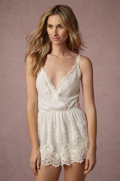BHLDN Translucid Lace Romper in  Bride Bridal Lingerie at BHLDN