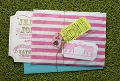Anything with elephants has my vote. Add a bit of whimsy & I'm hooked. Love this invitation suite by Thoughtful Day @Emmaline Bride - Handmade Wedding Blog