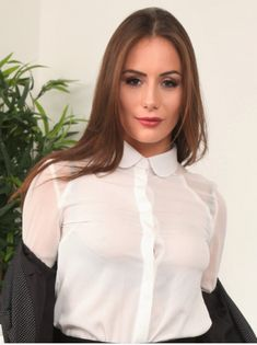 High Collar Blouse, Sexy Blouse, Blouse And Skirt, Stunning Eyes, Stunningly Beautiful, White Satin Blouse, Satin Shirt, Satin Bluse, Business Outfits Women