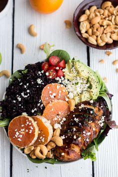 Black Rice Salad Bowls with Chipotle Orange Chicken, Cashews + Feta