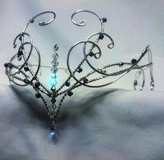 Silber Swarovski Elementen reif Tiara Kopf von ElvenstarDesign