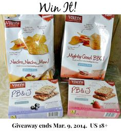 Enter to win Van's Natural Foods Healthy Snacks Prize Pack.  The prize pack includes 2 boxes of snack bars, 2 bags of multigrain chips, and 2 coupons for frozen waffles.  The blog #giveaway is open to US residents only and ends March 9, 2014.