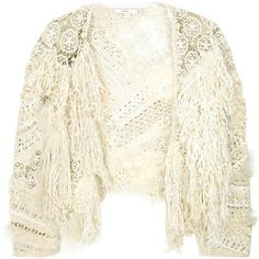 Feather-embellished crochet shrug (4.005 BRL) ❤ liked on Polyvore featuring outerwear, jackets, tops, cardigans, white crochet shrug, cardigan shrug, feather shrug, vanessa bruno and white shrug